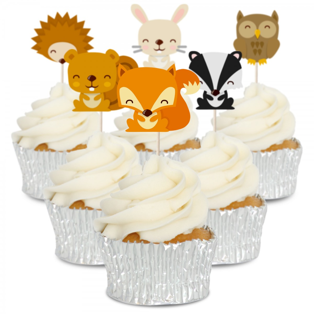 Woodland Birthday Cake topper Edible paper sugar sheet cupcakes picture fox