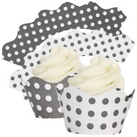 Charcoal & White Polka Dot Cupcake Wrappers - 12Pk
