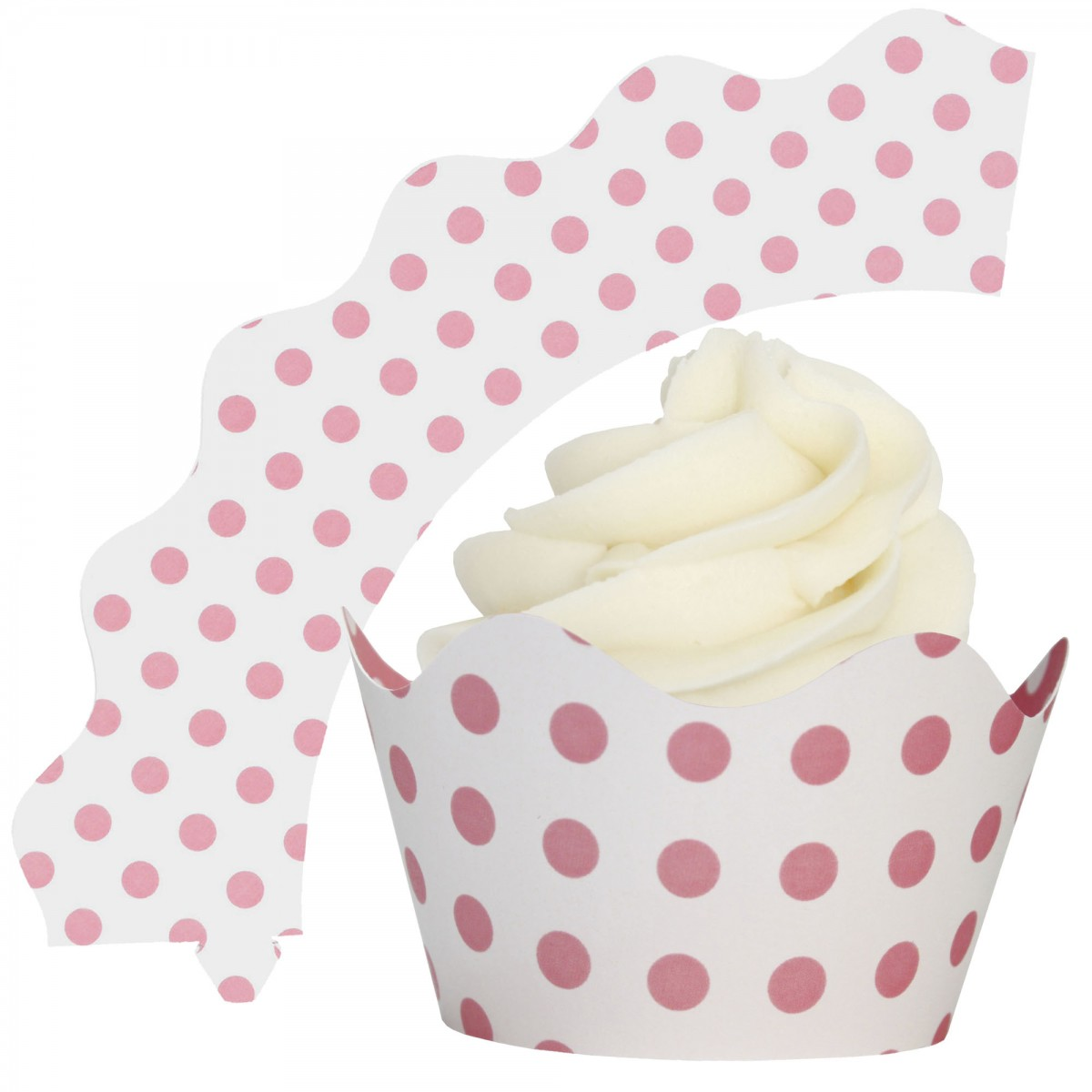 Set of 12 Light Pink Polka Dot Cupcake Wrappers Standard and Mini Sized Holders