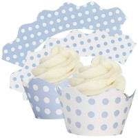 Baby Blue & White Polka Dot Cupcake Wrappers - 12Pk