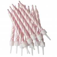 Pearlescent PINK Spiral Candles/Holders 12/pk