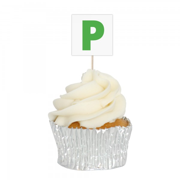 P Plates Cupcake Toppers - 12pk