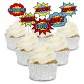 Comic Signs Cupcake Toppers - 12pk