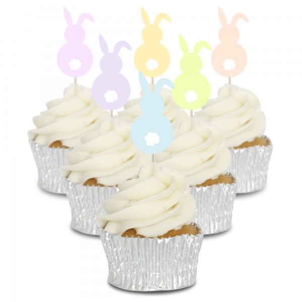 Pastel Bunny Cupcake Toppers - 12Pk
