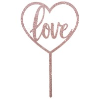 "Rose Gold Glitter Acrylic ""Love"" Topper"