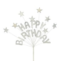 "SILVER ""Happy Birthday"" Spray with Stars"