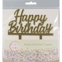 Large Gold Happy Birthday Cake Topper - 145x85mm