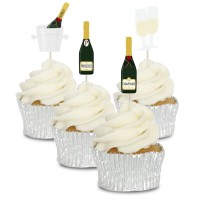 Champagne Cupcake Toppers - 12pk