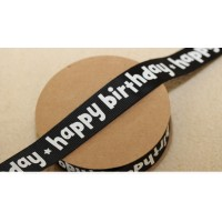 METRE - Black Happy Birthday 22mm Ribbon