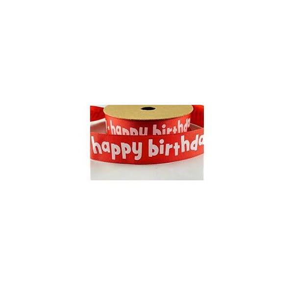 METRE - Red Happy Birthday 22mm Ribbon