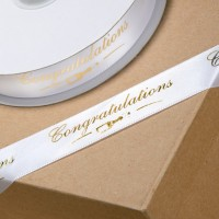 1 Metre - 22mm Congratulations White/Gold Ribbon