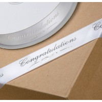 1 Metre - 22mm Congratulations White/Silver Ribbon