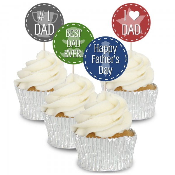 Father's Day Mixed Round Signs - 12pk