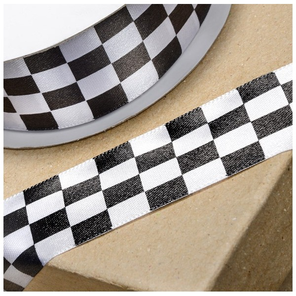 METRE - Chequered Flag Ribbon 25mm
