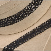 1 Metre - Cotton Lace Black 25mm