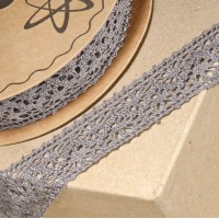 1 Metre - Cotton Lace Grey 25mm