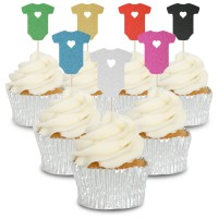 Glitter Baby Grow Cupcake Toppers - 12pk