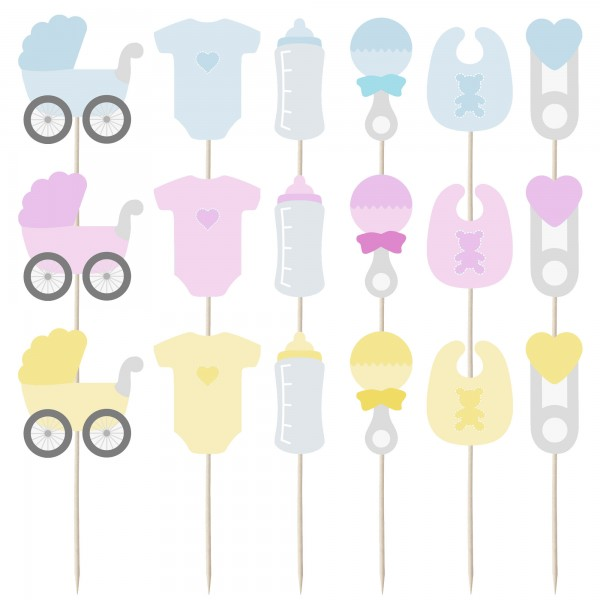 Baby Set Cupcake Toppers - 12pk