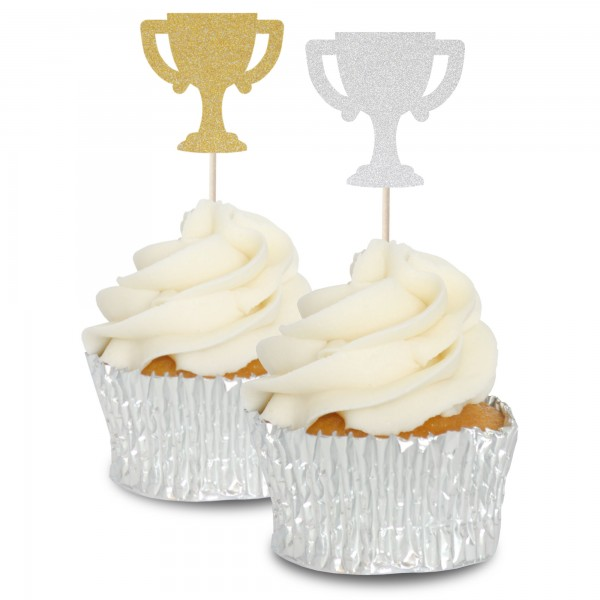 Glitter Trophy Cupcake Toppers - 12pk