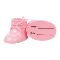 Pink Plastic Baby's Booties Cake Topper - 76mm