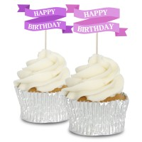 Pink Happy Birthday Banners - 12pk