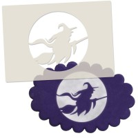 Witch on Broomstick Silhouette Stencil