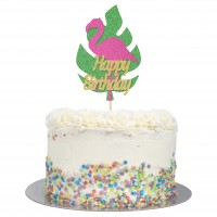 Large Flamingo Happy Birthday Cake Topper