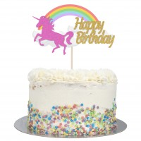 Large Unicorn & Rainbow Happy Birthday Cake Topper
