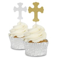 Ornate Glitter Cross Cupcake Toppers - 12pk