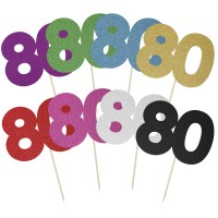 Large Glitter Number 80 Cake Topper