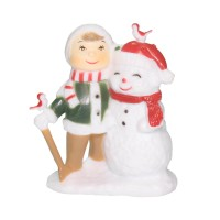 Child Building Snowman Decoration