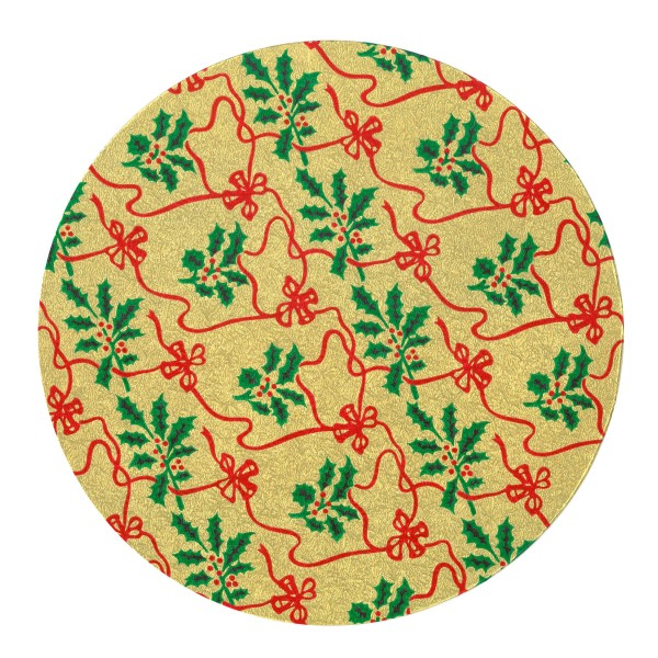 """10"""" Round Gold with Holly Christmas Cake Card"""
