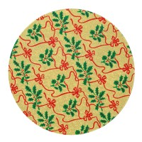 "10"" Round Gold with Holly Christmas Cake Card"
