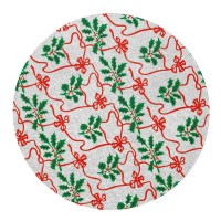 "8"" Round Silver with Holly Christmas Cake Card"