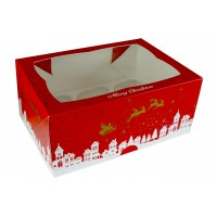 Christmas Design Cupcake box to hold 6