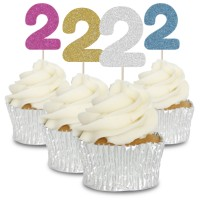 2 Glitter Number Cupcake Toppers - 12pk