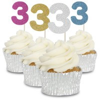 3 Glitter Number Cupcake Toppers - 12pk