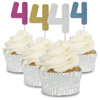 4 Glitter Number Cupcake Toppers - 12pk