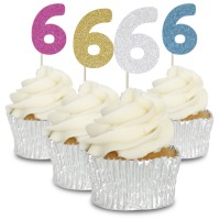 6 Glitter Number Cupcake Toppers - 12pk