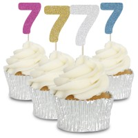 7 Glitter Number Cupcake Toppers - 12pk