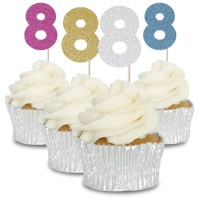 8 Glitter Number Cupcake Toppers - 12pk