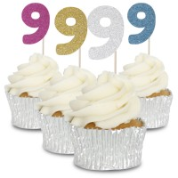 9 Glitter Number Cupcake Toppers - 12pk