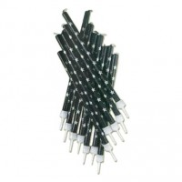 Black with Silver Star Tall Candles with Holders - 12pk