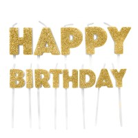 Gold Glitter Happy Birthday Pick Candles