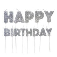 Silver Glitter Happy Birthday Pick Candles