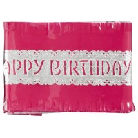 Pink Happy Birthday Cake Frill - 88cm
