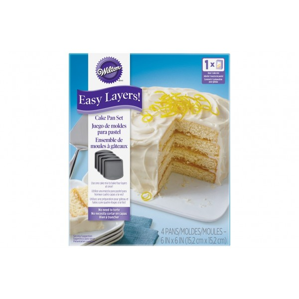 """Easy Layers 6"""" Square 4 Pce Cake Pan Set"""