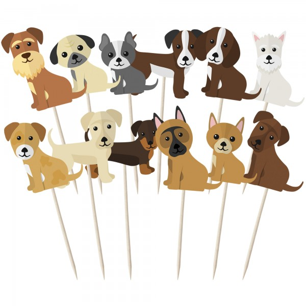 Assorted Cute Dogs Cupcake Toppers - 12pk