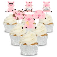 Messy Pigs Cupcake Toppers - 12pk