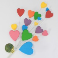 Bright Multi Coloured Heart Spray